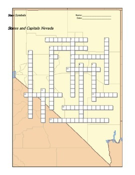 States and Capitals - Nevada State Symbols Crossword Puzzle