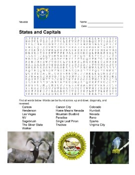States and Capitals - Nevada State Symbols Wordsearch Puzzle