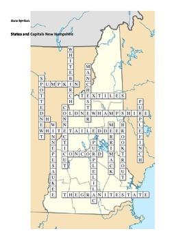 States and Capitals - New Hampshire State Symbols Crossword Puzzle