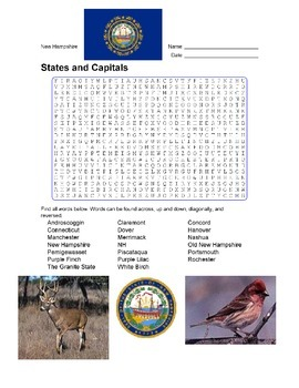 States and Capitals - New Hampshire State Symbols Wordsear