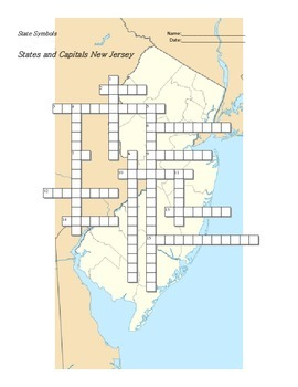 States and Capitals - New Jersey State Symbols Crossword Puzzle