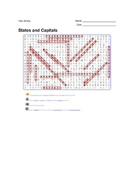States and Capitals - New Jersey State Symbols Wordsearch Puzzle