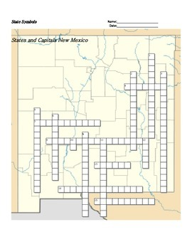 States and Capitals - New Mexico State Symbols Crossword Puzzle