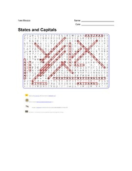 States and Capitals - New Mexico State Symbols Wordsearch Puzzle