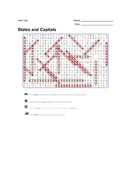 States and Capitals - New York State Symbols Wordsearch Puzzle