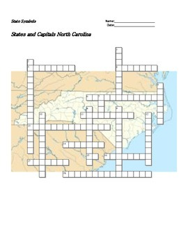 North carolina state symbols teaching resources teachers pay teachers states and capitals north carolina state symbols crossword puzzle ccuart Image collections