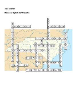 States and Capitals - North Carolina State Symbols Crossword Puzzle