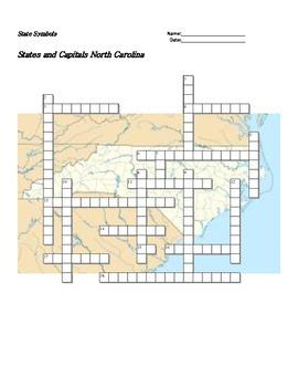 States and Capitals - North Carolina State Symbols Crosswo