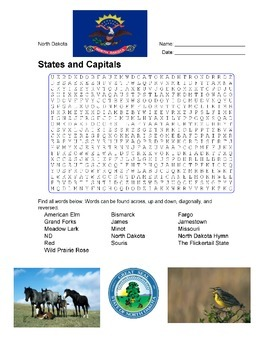 States and Capitals - North Dakota State Symbols Wordsearch Puzzle