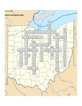 States and Capitals - Ohio State Symbols Crossword Puzzle