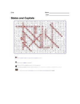 States and Capitals - Ohio State Symbols Wordsearch Puzzle