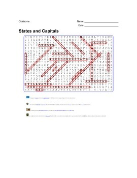 States and Capitals - Oklahoma State Symbols Wordsearch Puzzle