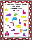States and Capitals Card Games (Old Maid, Go Fish, Concentration)