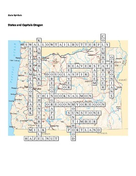 States and Capitals - Oregon State Symbols Crossword Puzzle