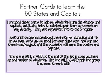 States and Capitals Partner Cards