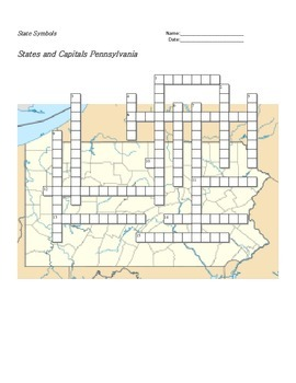 States and Capitals - Pennsylvania State Symbols Crossword Puzzle