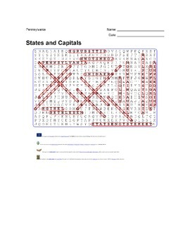 States and Capitals - Pennsylvania State Symbols Wordsearch Puzzle