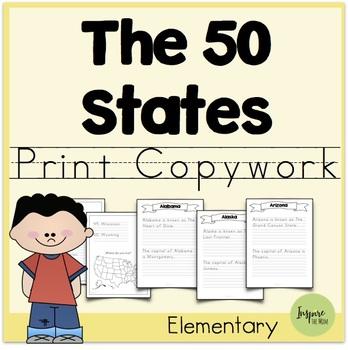 States and Capitals Print Copywork
