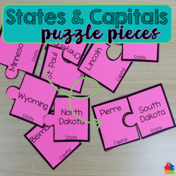 States and Capitals Puzzle Pieces