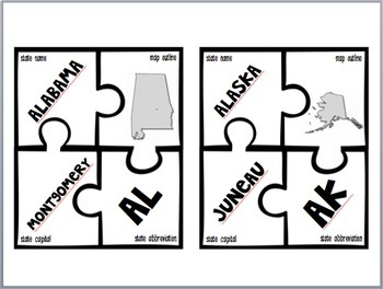 States and Capitals Puzzles with Maps