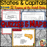 States and Capitals Quizzes & Maps (5 US Regions)