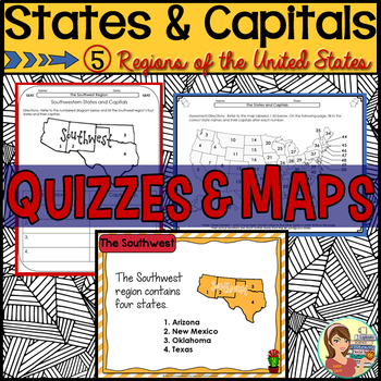 States and Capitals Quizzes & Maps (5 US Regions) by SunnyDaze ...