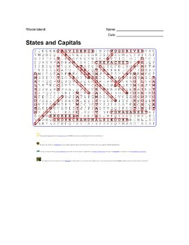 States and Capitals - Rhode Island State Symbols Wordsearch Puzzle