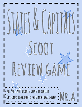 """Scoot review game: States and Capitals """"Region by region"""""""