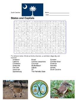 States and Capitals - South Carolina State Symbols Wordsearch Puzzle