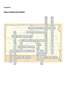 States and Capitals - South Dakota State Symbols Crossword Puzzle