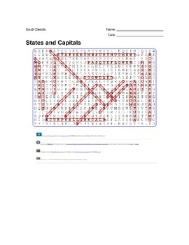 States and Capitals - South Dakota State Symbols Wordsearch Puzzle
