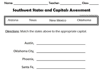States and Capitals: Southwest Puzzles
