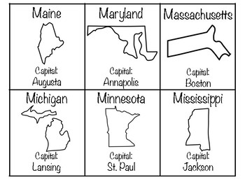 States and Capitals Study Cards