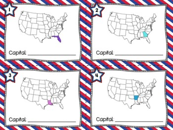 50 U.S. States and Capitals Task Cards