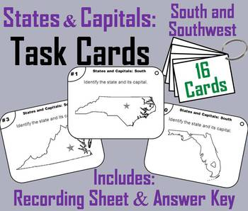 States and Capitals Task Cards: South and Southwest Region (US Geography Unit)