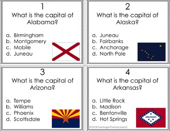 States and Capitals Task Cards (U.S. History)