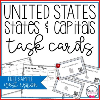 States and Capitals Task Cards FREE SAMPLE