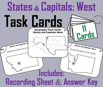 States and Capitals Task Cards: West Region (US Geography)