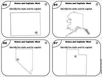 States and Capitals Task Cards: West Region (US Geography Unit)