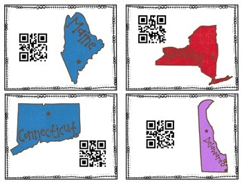 States and Capitals Task Cards with QR Codes Northeast Region