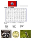 States and Capitals - Tennessee State Symbols Wordsearch Puzzle