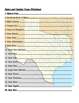 States and Capitals - Texas State Symbols Crossword Puzzle