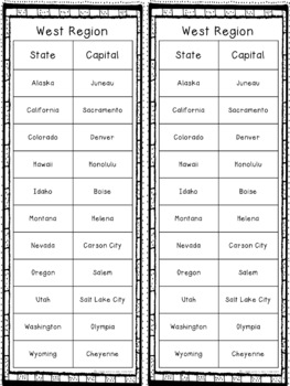 States and Capitals US Regions Bundle