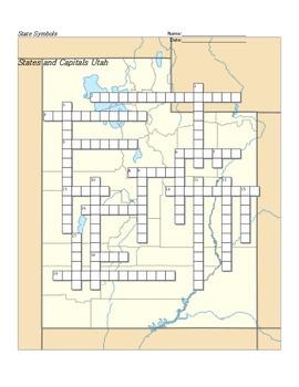States and Capitals - Utah State Symbols Crossword Puzzle