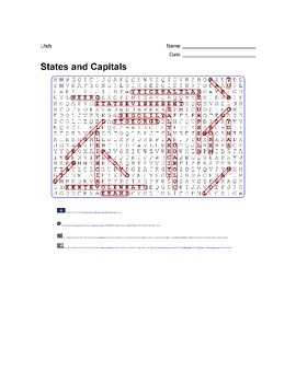 States and Capitals - Utah State Symbols Wordsearch Puzzle