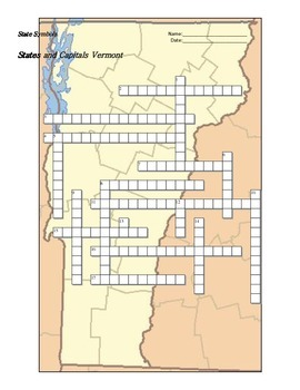 States and Capitals - Vermont State Symbols Crossword Puzzle