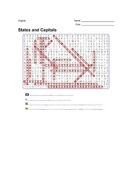 States and Capitals - Virginia State Symbols Wordsearch Puzzle