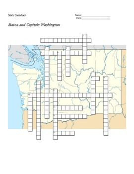 States and Capitals - Washington State Symbols Crossword Puzzle