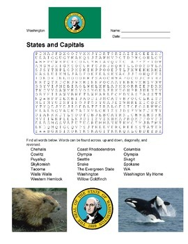 States and Capitals - Washington State Symbols Wordsearch Puzzle