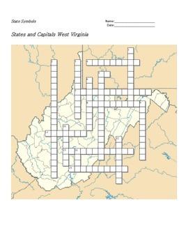 States and Capitals - West Virginia State Symbols Crossword Puzzle